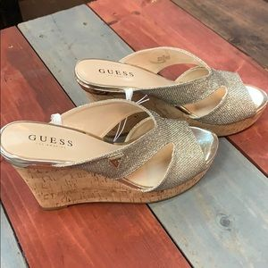 New Guess Metallic Sparkly Wedge Sandals